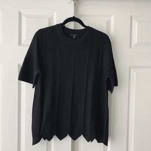 COS Wool Short Sleeve Pointed Scallop Hem Sweater